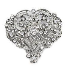 1pc Silver Tone Big Rhinestone Crystal Heart Brooch Pins Wedding Bridal Bouquet