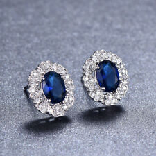 Elegant Woman Gift Swiss Blue Topaz Gemstone Silver Flower Stud Hook Earrings