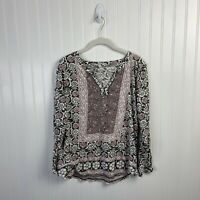 Lucky Brand Large Top Women Floral Pink Gray White Peasant Boho Casual