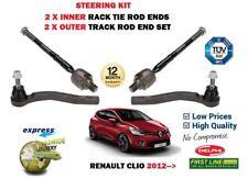 für RENAULT CLIO 2012->2 x Außen + 2 x innere Spurstange Spurstangenkopf Satz
