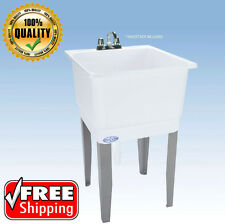 Freestanding Plastic Laundry Utility Sink White Mustee Floor Mount Tub w/ Drain