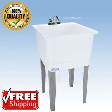 Freestanding Plastic Laundry Utility Sink White Mustee Floor Mount Tub w/ Drain