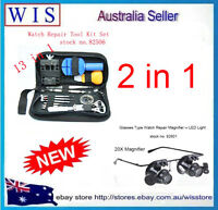 13 Piece Watch Repair Tool Kit Set & Glasses Type Watch Repair Magnifier