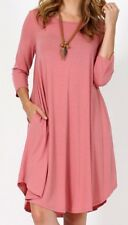 dusky rose pink colour flowing tunic dress with two side pockets - size 16