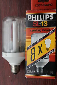 6 x RARE Vintage Philips Holland ES E27 SL Prismatic 13w Low Energy Bulb NEW