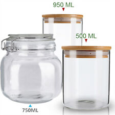 Glass Food Storage Jars, Airtight Glass Canister Clear Glass Bulk Food with Lids