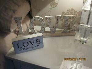 TWO NEXT WOODEN LOVE SIGN PLAQUES