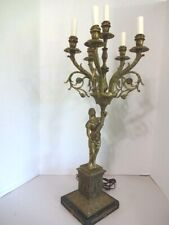 """Antique Brass Table Lamp Lady/Goddess Figural Marble Base 6 Lights-30"""" Tall"""