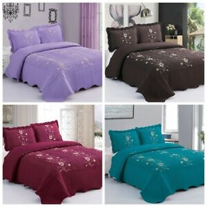 3PCS Lightweight Quilt Bedspread Set Microfiber Embroidery Coverlet, Lapaz