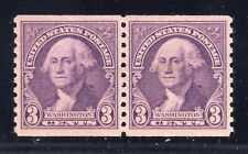 US STAMP #720 PAIR --- 3c WASHINGTON - VF -  UNUSED - GRADED 80