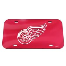 Detroit Red Wings License Plate Mirrored Acrylic Red