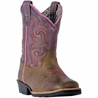 Dan Post Toddler-Youth Girl's Tryke Brown Square Toe Western Boots DPC1947 NIB