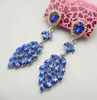Betsey Johnson Blue Crystal Rhinestone Leaf Drop Dangle Earrings