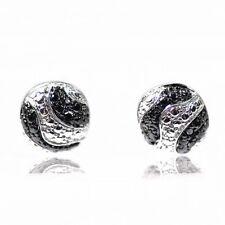 De Buman 925 Silver Zebra Stripes Black Diamond Simplicity Pair Stud Earrings