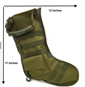 Canvas Cargo Christmas Stocking With Lots Of Pockets And Zippers military green