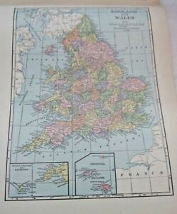 1933 Map Of England and Wales From The Commercial Atlas of the World