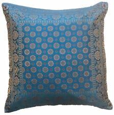 "16"" Blue Indian Floral Mandala Art Silk Gold Brocade Cushion Cover Zip Square"