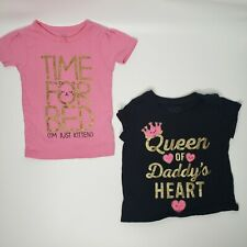 Carters & CP Girl Shirt Graphic Lot Of 2 Queen of Daddy's heart & Pink 12-24M