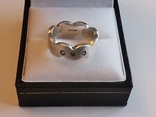 FOSSIL MATT SILVER 3 CZ clear STONE RING waved band solid 7g 925 sterling L 1/2