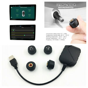 TPMS USB Tire Pressure Monitor System Fit For Car Android Navi Player W/ Sensor