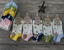 5 Pairs Women Socks Candy Color Sweet Kawaii Dots Cotton Causal Ankle Crew Socks