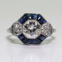 Luxurious Women Jewelry Chic Silver White & Blue Sapphire Ring Wedding Gifts