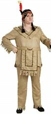 Native American Man Costume 3Pc Tan Fringed Shirt Pants & Apron/Belt Plus