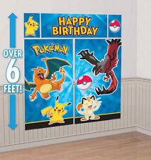 POKEMON GO PIKACHU Scene Setter HAPPY BIRTHDAY party wall decoration kit over 6'