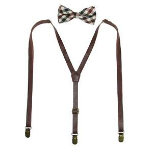 New CTM Men's Brown Plaid Bow Tie with brown Faux Leather Suspender Set