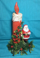 Vintage 70's Christmas Santa Claus Figure Candle Holly Center Decorations