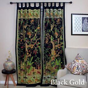 Handmade Tree of Life Tab Top 100% Cotton Curtain Drape Panel 44x88 Black Gold