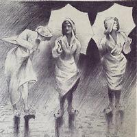 Henri Patrice Dillon Gravure lithographie Jeunes Femmes Sous La Pluie Parapluie