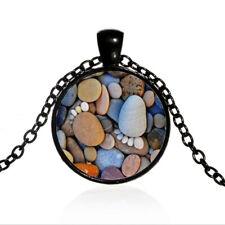 Vintage Stone feet Cabochon Black Glass Chain Pendant Necklace Jewellery