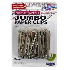 Premier Jumbo / Large Metal Paper Clips - 50mm, Pack of 80