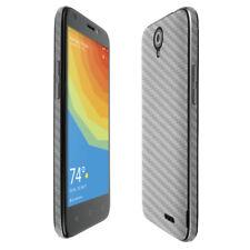 Skinomi TechSkin Silver Carbon Fiber & Screen Protector for ZTE Prelude Plus