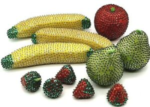 Lot of 11 Push Pin Sequin Fruit - 3 Bananas 2 Pears 5 Strawberries and 1 Apple