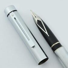 Sheaffer TARGA 1001 Fountain Pen (Later) - Brushed Chrome, Broad Nib (New)