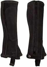 Perri's Suede Tall Black Zipper Half Chap Adult Size Small *New*  FREE SHIPPING