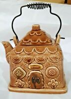 Ceramic Gingerbread House Tea Pot With Wire Handle Made in Japan