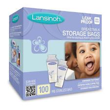 Lansinoh Breast Milk Pre-sterilized Storage Bags 180ml |100 Count I BPA