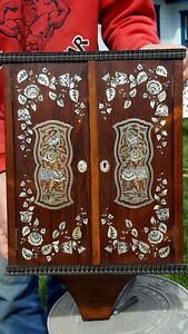 Antique Wood Spice Wall Cabinet INTRICATE INLAID SILVER METAL Floral SUPER RARE!