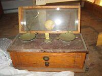 Vintage Henry Troemner Balance Scale Brass Oak Marble Philadelphia Apothecary