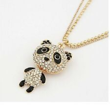 Gold Crystal Animal Zoo Giant Panda Bear Cute Costume Jewellery Necklace