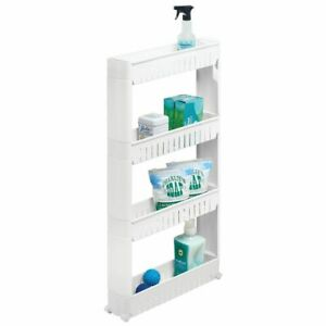 mDesign Portable Rolling Laundry Utility Cart Organizer with 4 Shelves - White