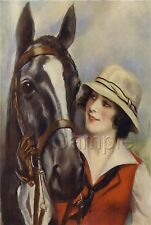 EQUESTRIAN PIN-UP GIRL HORSE HORSEBACK RIDING OUTFIT VINTAGE CANVAS ART PRINT