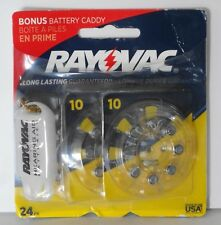 24 PACK Rayovac Hearing Aid Batteries Size 10 1.45V WITH BONUS BATTERY CADDY NEW