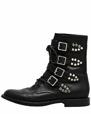 NEW Saint Laurent Military Boots Rangers Chain Moto Leaf Studded Buckle 35  US 5
