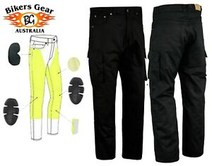 Australian BG Mens Cargo Motorcycle Motorbike Trousers Jeans lined with KEVLAR®