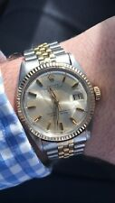 Rolex Oyster Perpetual Datejust 1601 Two Tone 14k Gold Alpha Hands Watch (Rare)