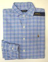 NWT $89 Polo Ralph Lauren Blue Plaid Oxford LS Shirt Mens Size M XL NEW